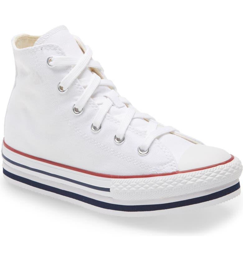 CONVERSE Chuck Taylor<sup>®</sup> All Star<sup>®</sup> High Top Platform Sneaker, Main, color, WHITE/ MIDNIGHT NAVY/ GARNET