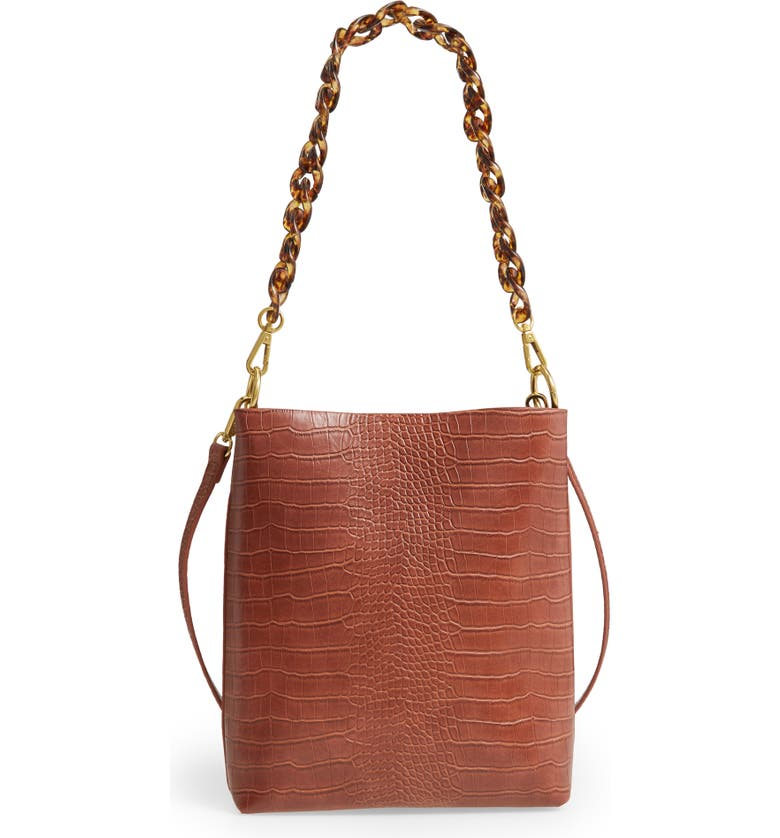 STREET LEVEL Croc Embossed Faux Leather Mini Tote, Main, color, Brown