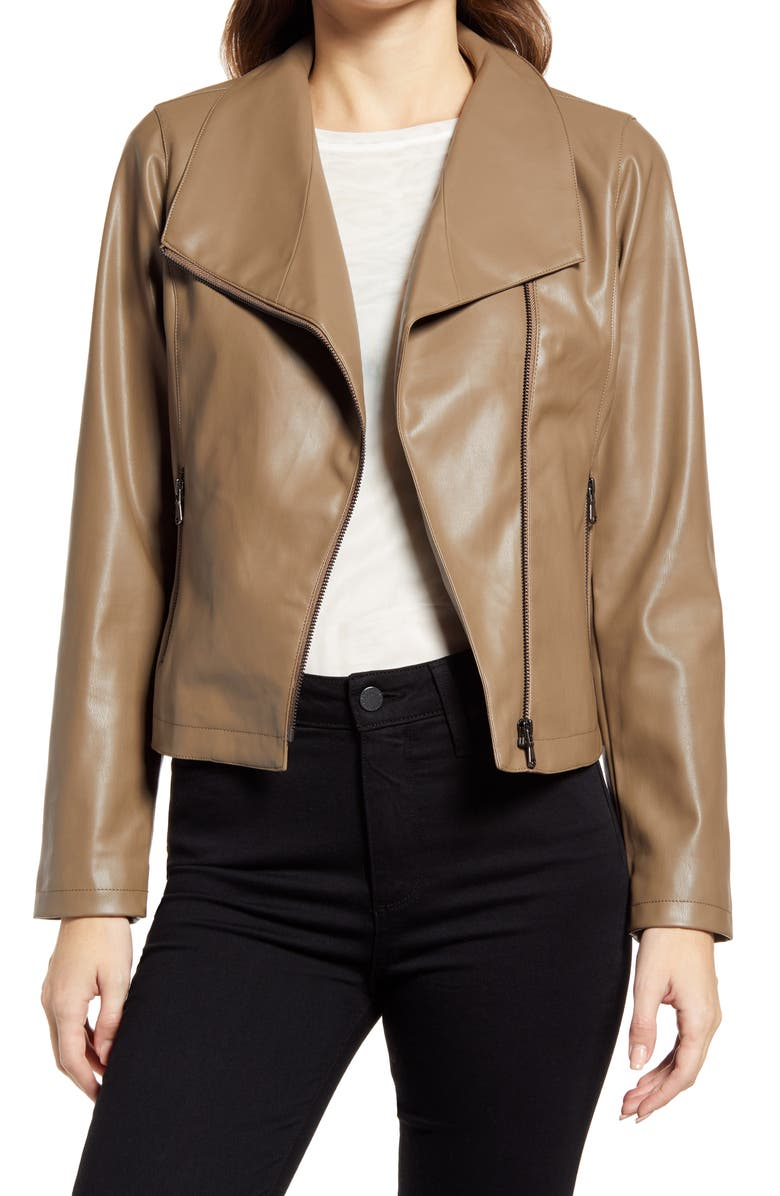 HALOGEN<SUP>®</SUP> Drape Collar Faux Leather Jacket, Main, color, BROWN COFFEE