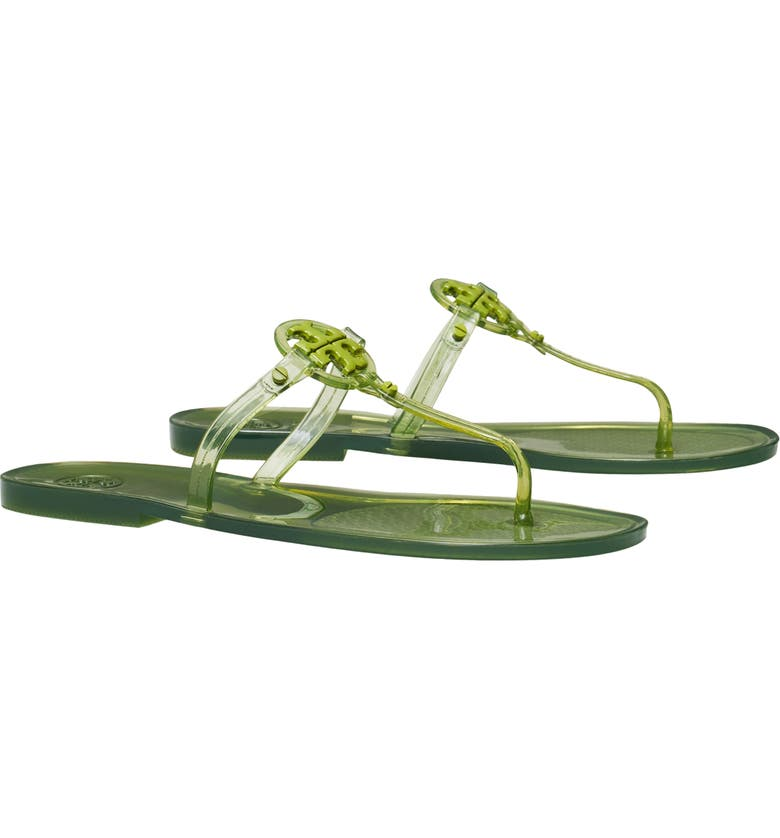 TORY BURCH Mini Miller Jelly Thong Sandal, Main, color, GREEN VALLEY