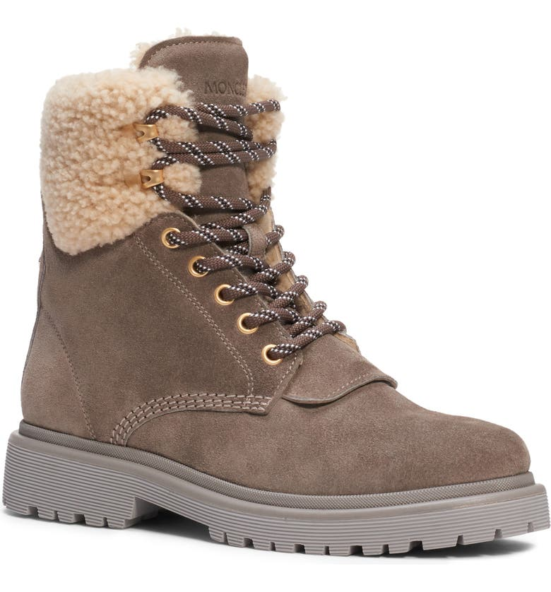 MONCLER Patty Genuine Shearling Trim Boot, Main, color, 281
