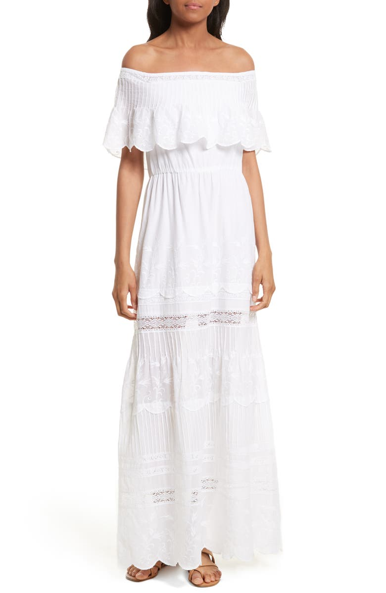 ALICE + OLIVIA Pansy Off the Shoulder Maxi Dress, Main, color, White
