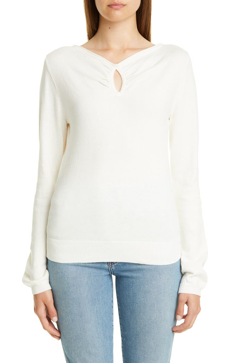 VICTOR GLEMAUD Keyhole Cotton & Cashmere Sweater, Main, color, 100