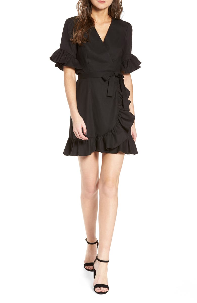 WAYF Ruffle Wrap Dress, Main, color, 001