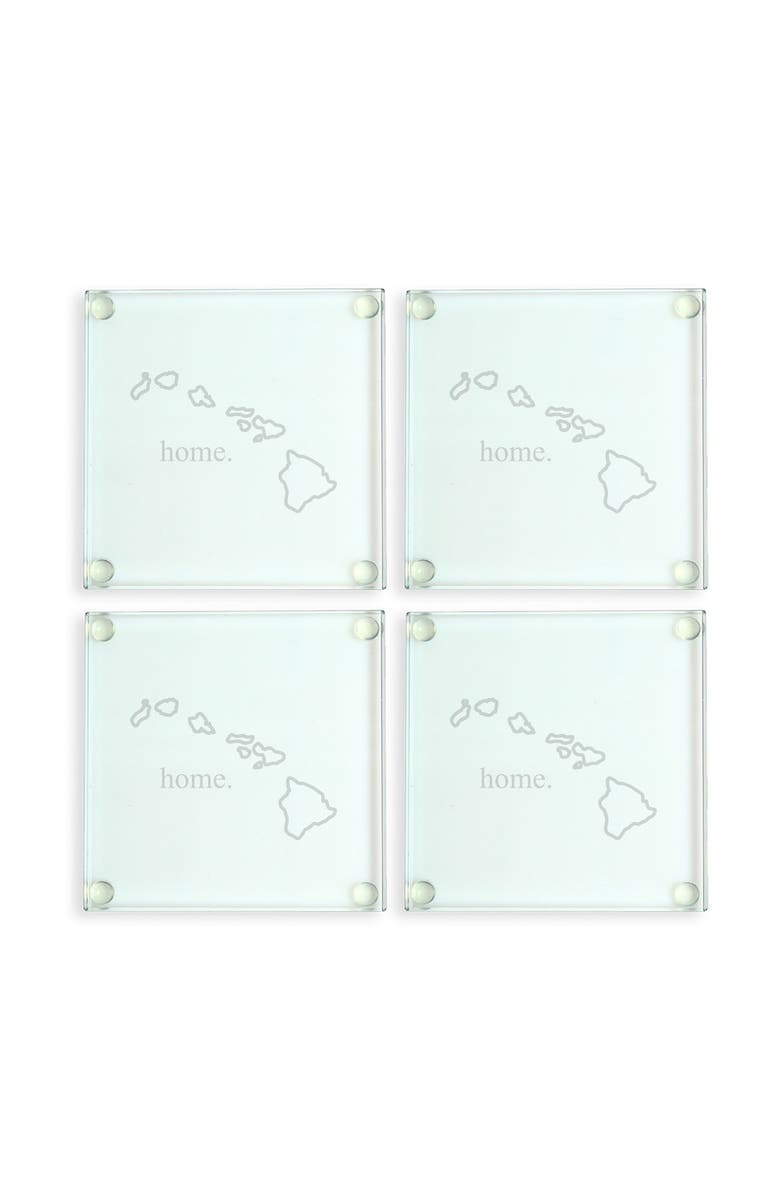 CATHY'S CONCEPTS 'Home State' Glass Coasters, Main, color, HAWAII