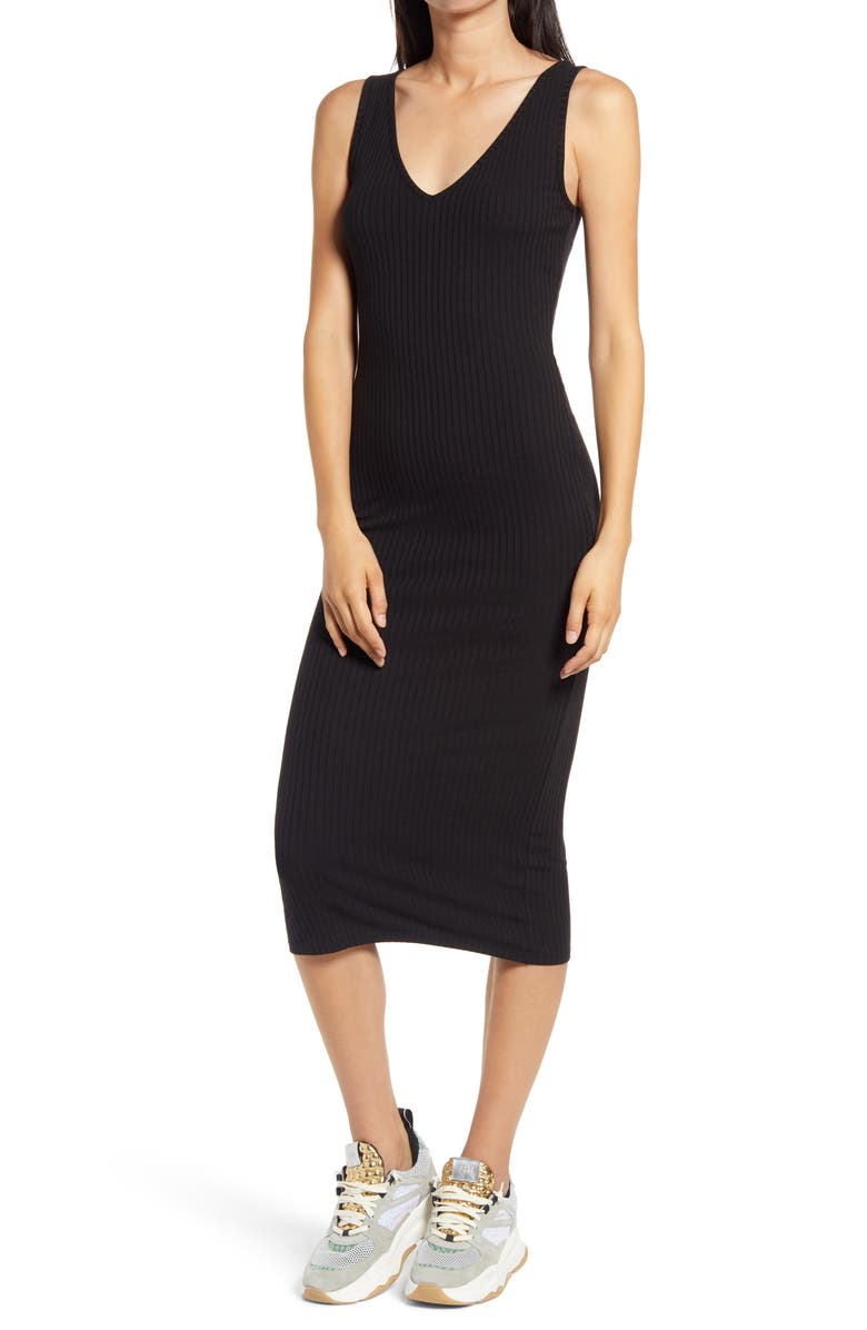 LOVE, FIRE Ribbed Body-Con Midi Dress, Main, color, 001