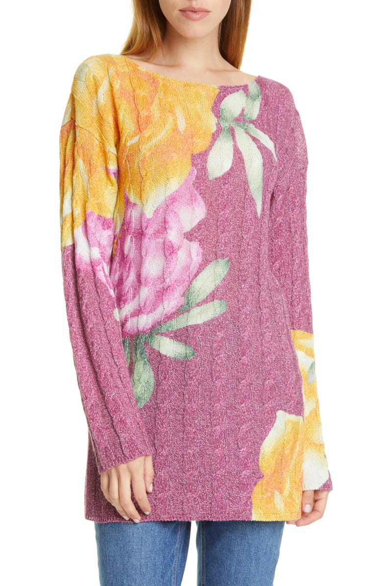 ETRO Metallic Floral Cable Knit Sweater, Main, color, 601