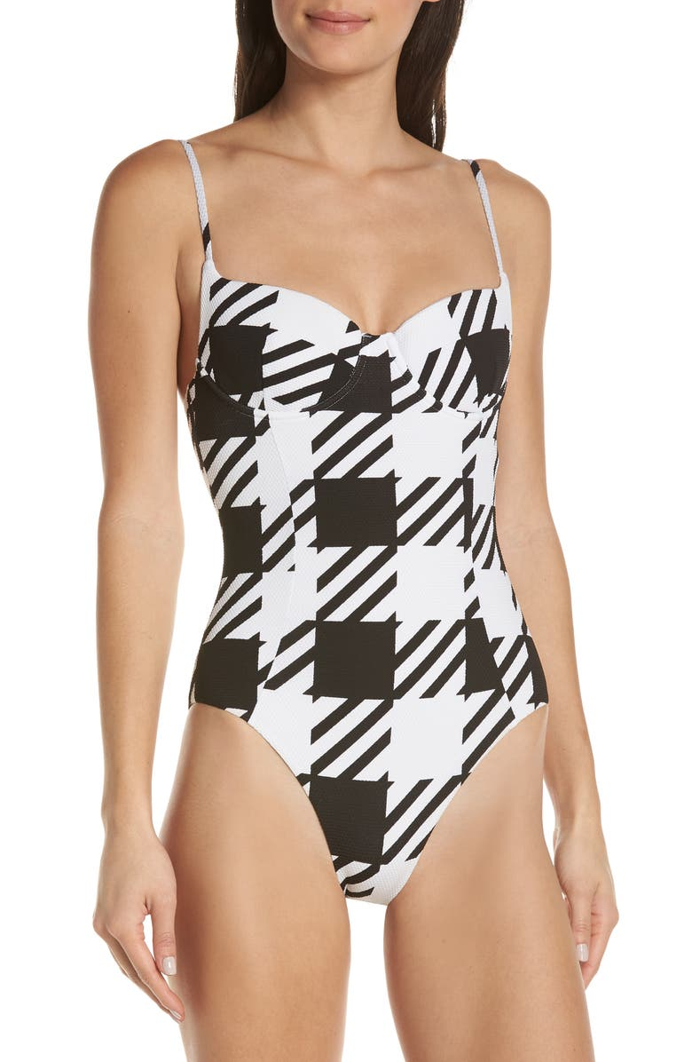 ONIA Check One-Piece Swimsuit, Main, color, 001