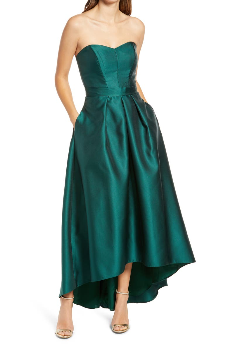 ALFRED SUNG Strapless High/Low Ballgown, Main, color, HUNTER