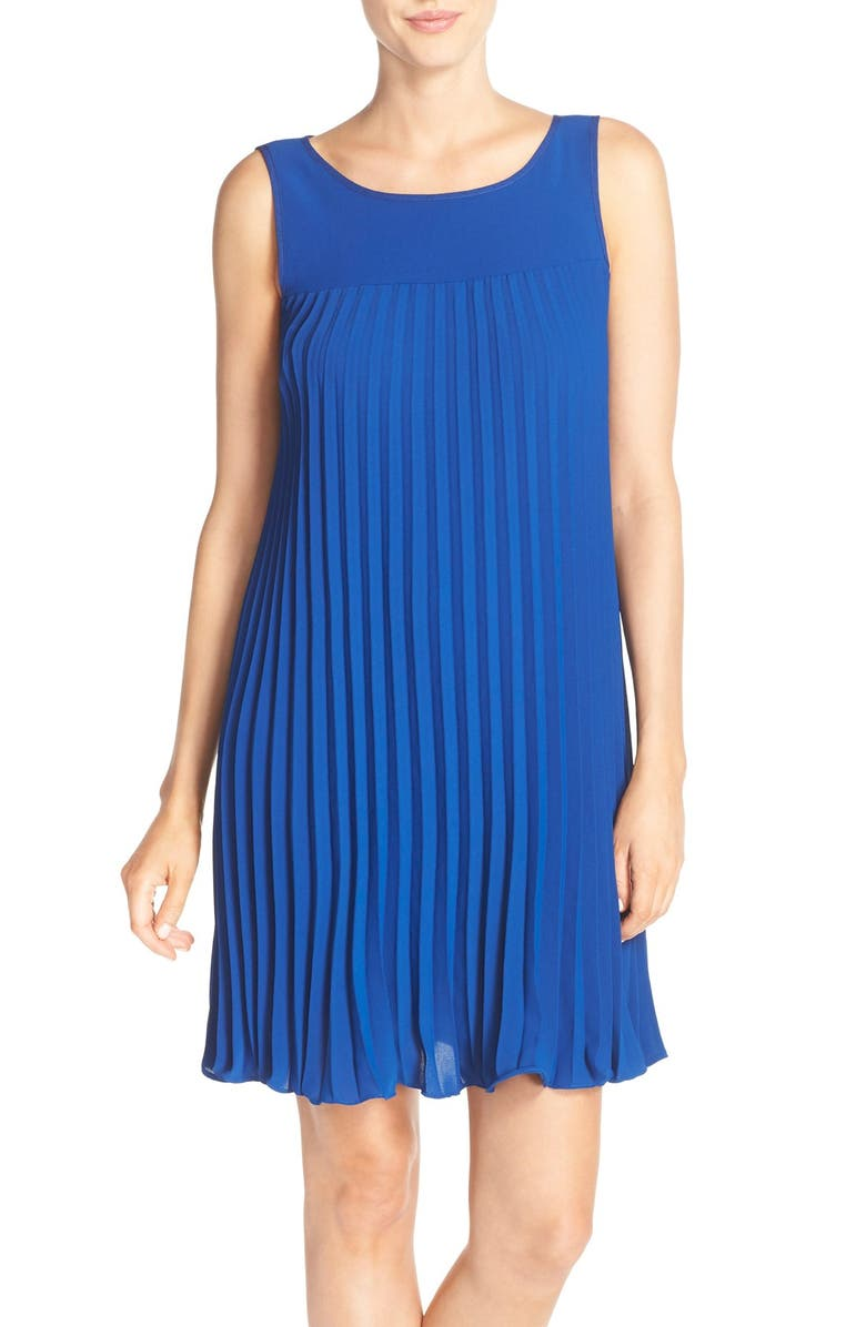 ADRIANNA PAPELL Flyaway Pleated Crepe Shift Dress, Main, color, DEEP OCEAN