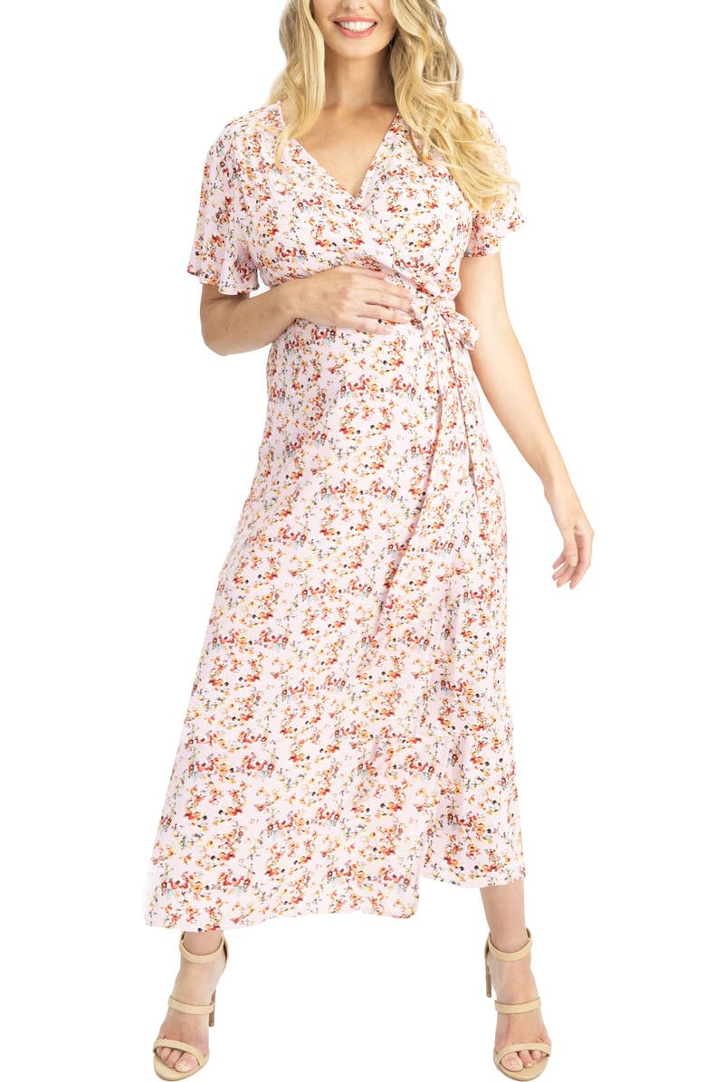 ANGEL MATERNITY Floral Maternity/Nursing Wrap Dress, Main, color, PINK