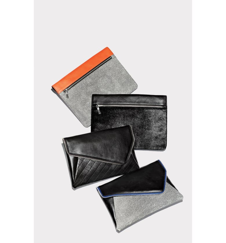 HALOGEN<SUP>®</SUP> 'Grab & Go' Leather Clutch, Main, color, 004