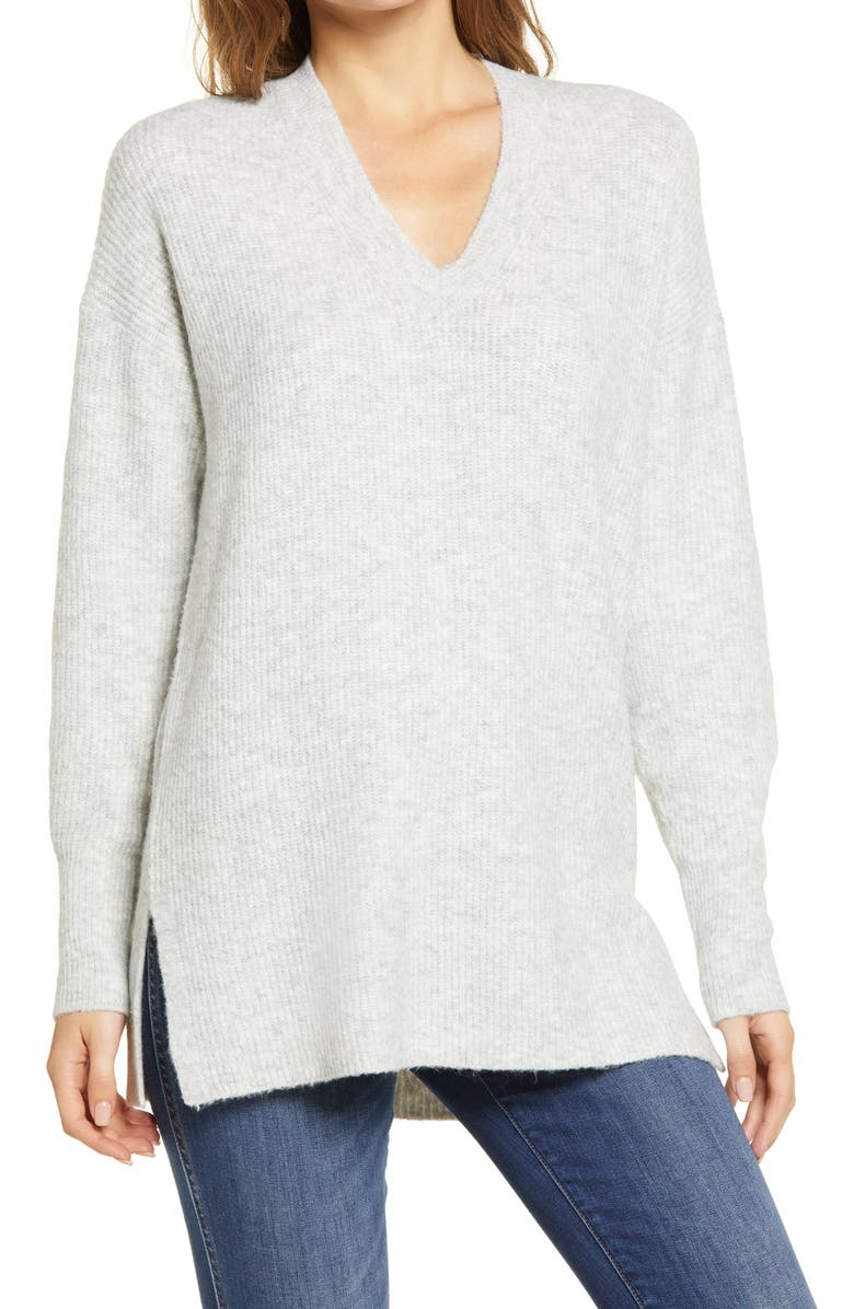 HALOGEN<SUP>®</SUP> Cozy V-Neck Tunic Sweater, Main, color, GREY LIGHT HEATHER