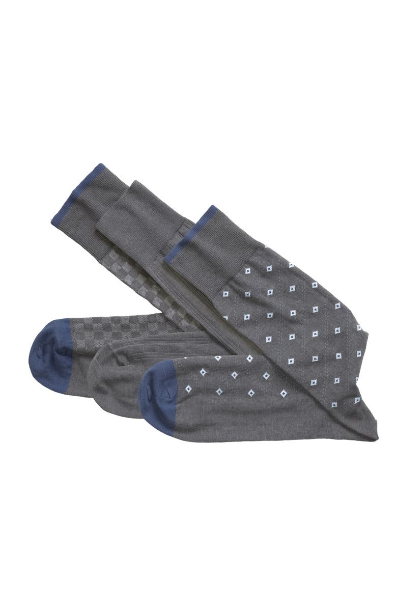 JOHNSTON & MURPHY 3-Pack Assorted Socks, Main, color, Charcoal