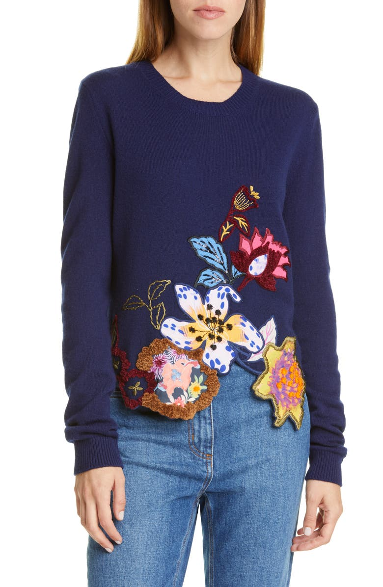ETRO Embroidered Floral Asymmetrical Hem Wool Blend Sweater, Main, color, 410