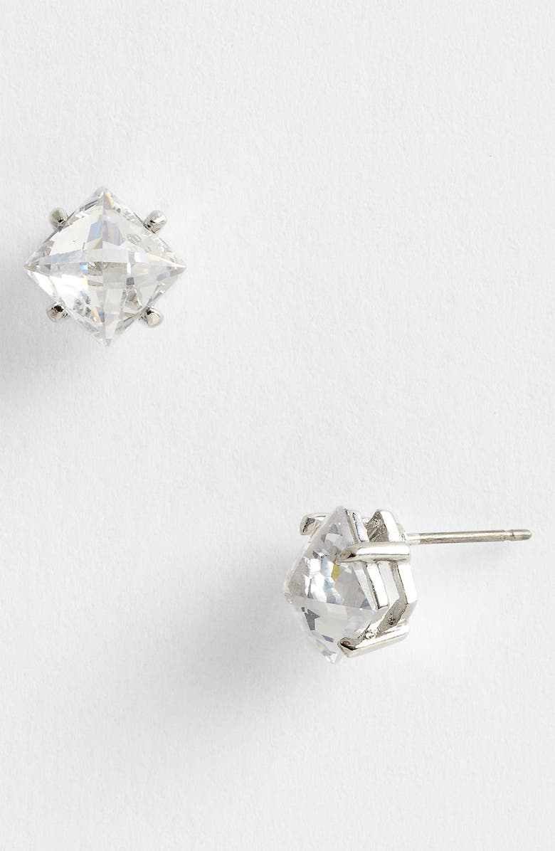 JUICY COUTURE 'Pretty in Punk' Stud Earrings, Main, color, CLEAR CRYSTAL/ SILVER