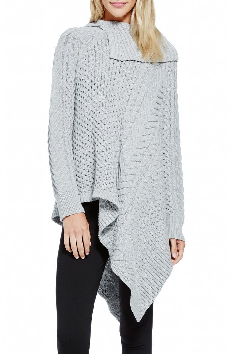 VINCE CAMUTO Asymmetrical Mix Stitch Turtleneck Sweater, Main, color, 095