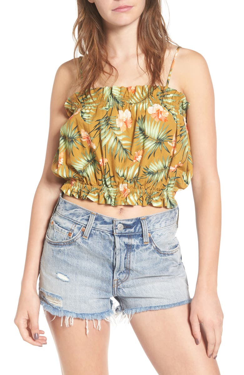 SINCERELY JULES Palm Crop Top, Main, color, Green