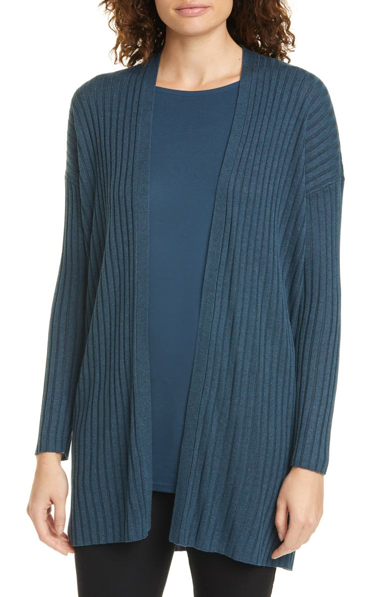 EILEEN FISHER Long Ribbed Cardigan, Main, color, 400