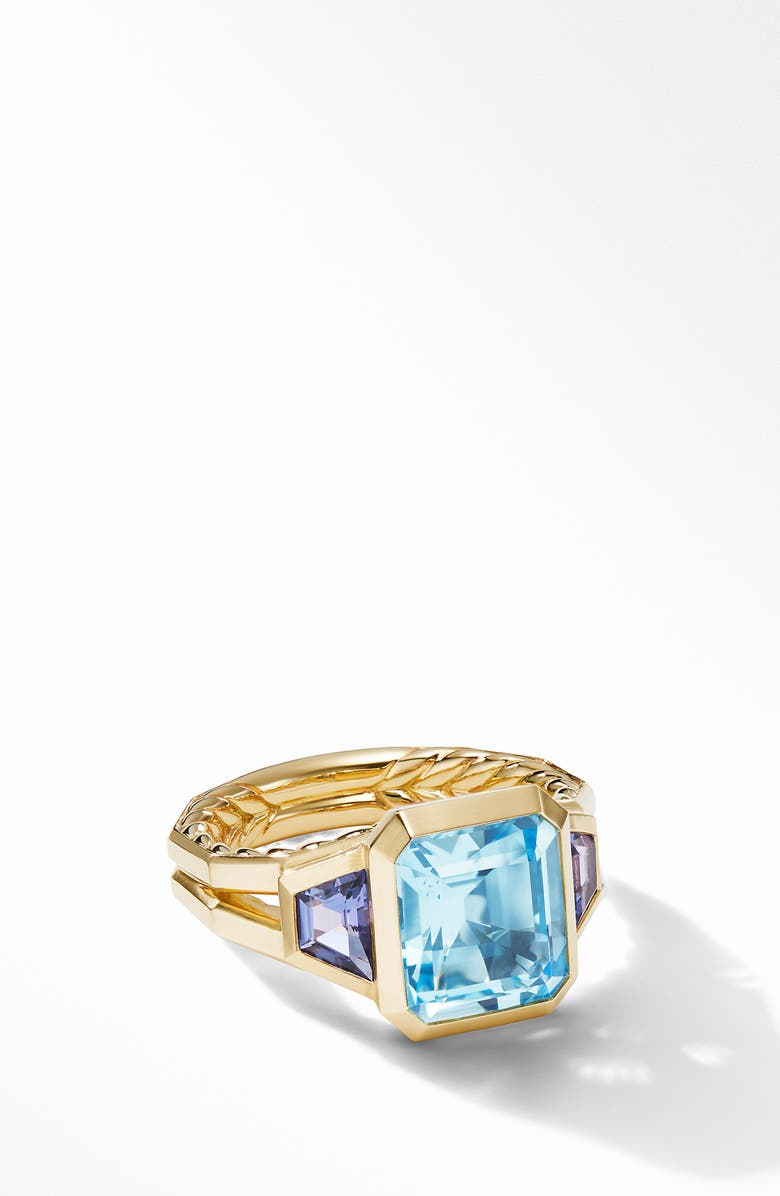 DAVID YURMAN Novella 3-Stone Ring in 18K Yellow Gold, Main, color, SKY BLUE TOPAZ
