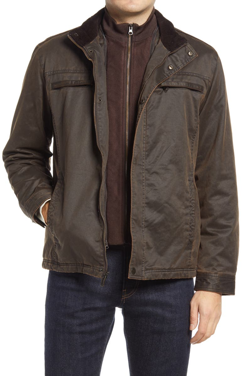 JOHNSTON & MURPHY Antiqued Cotton Blend Jacket, Main, color, BROWN