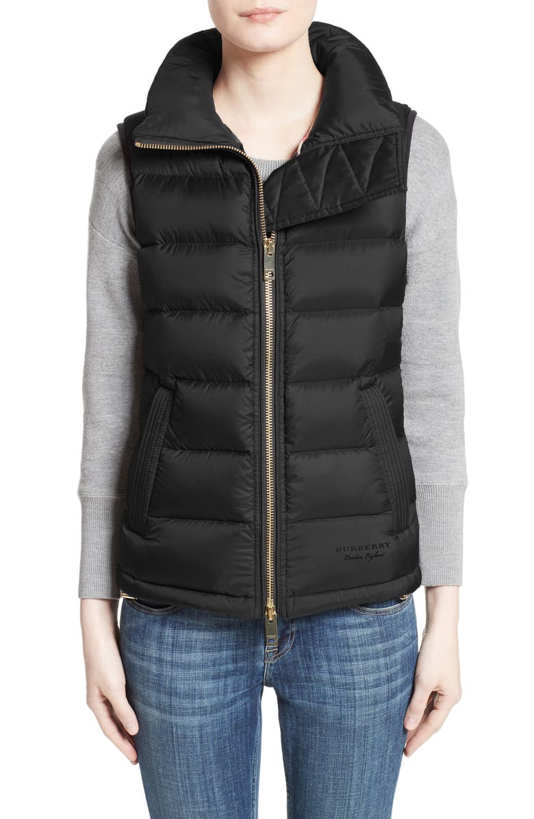 BURBERRY Bredon Quilted Puffer Vest, Main, color, 001