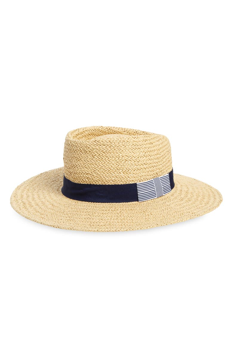 HALOGEN<SUP>®</SUP> Straw Boater Hat, Main, color, TAN LIGHT COMBO