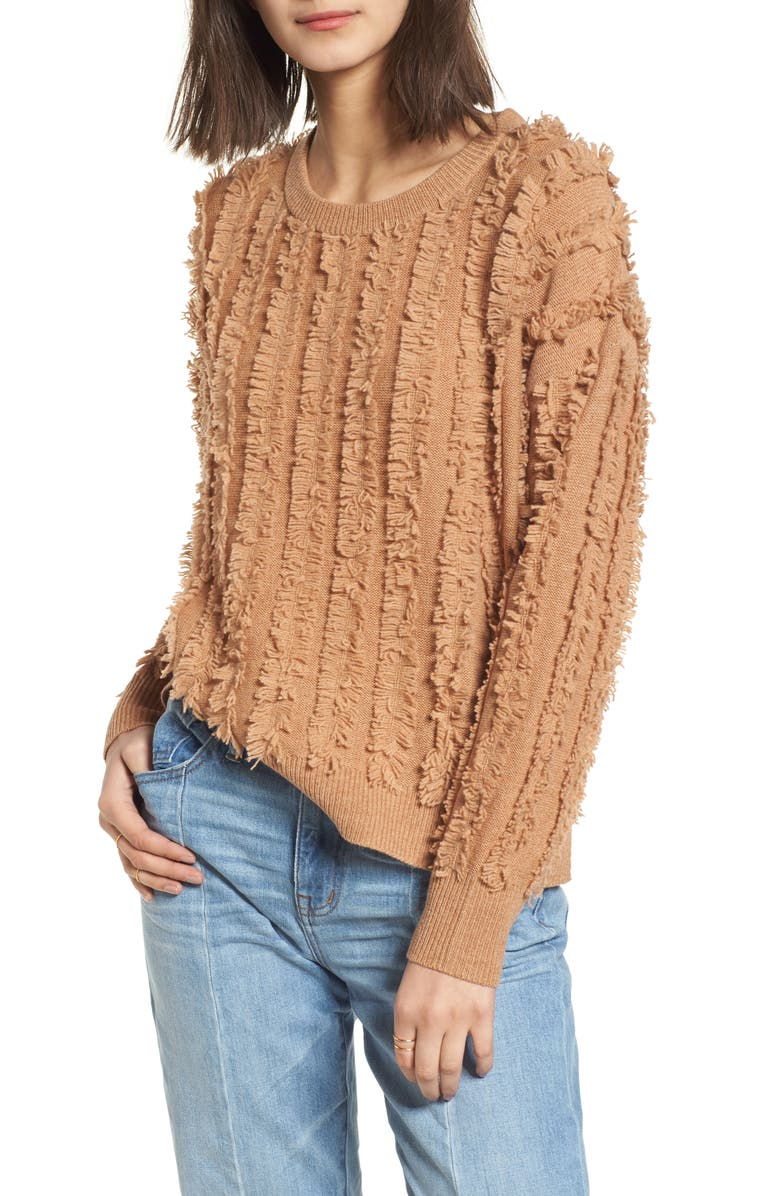 MADEWELL Fringe Stripe Pullover Sweater, Main, color, 200