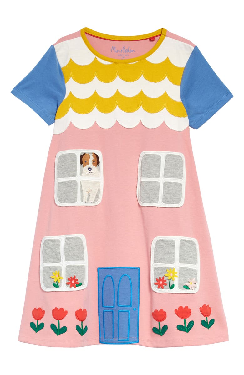 MINI BODEN Kids' Patch Dress, Main, color, FORMICA PINK