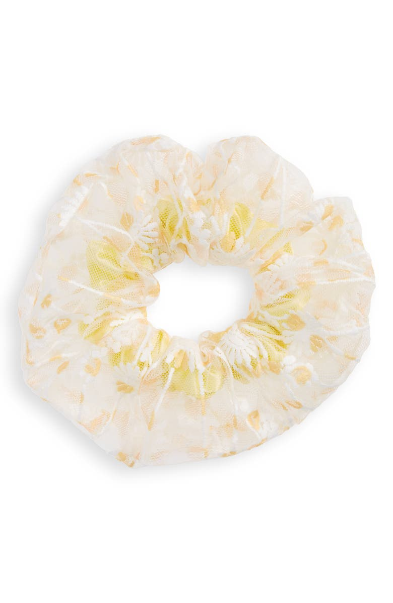 TUCKER + TATE Oversized Frill Scrunchie, Main, color, YELLOW FINCH DAISY