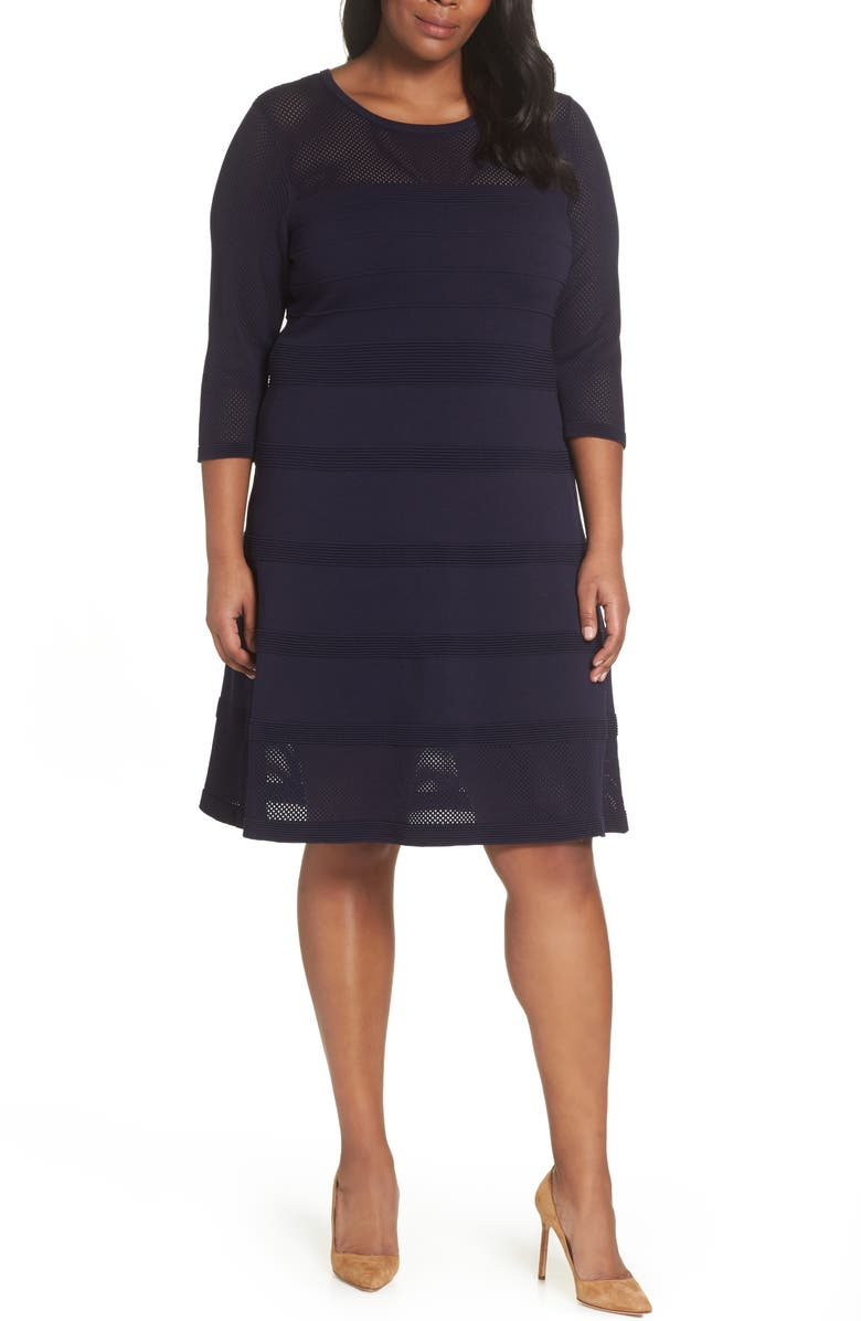 VINCE CAMUTO Mixed Stitch Pointelle Fit & Flare Dress, Main, color, NAVY