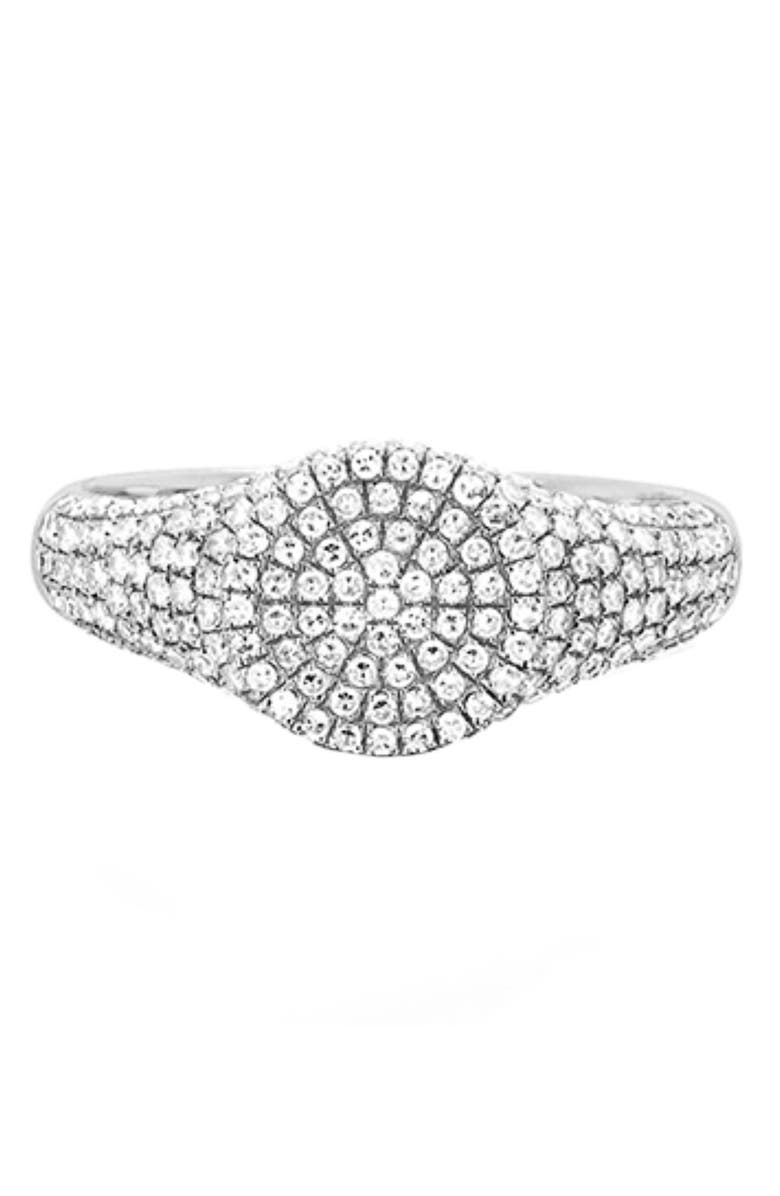 EF COLLECTION Diamond Signet Ring, Main, color, WHITE GOLD/ DIAMOND