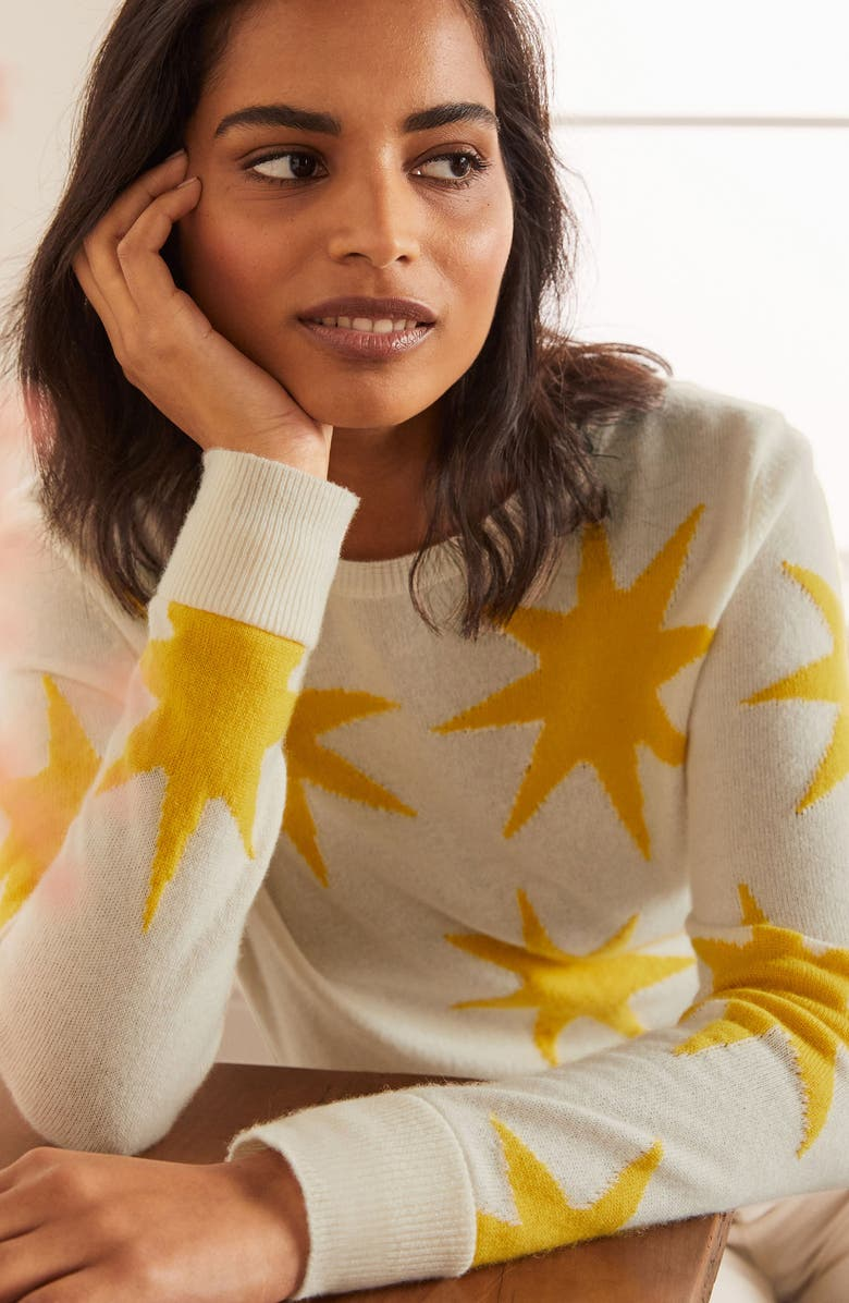 BODEN Star Pattern Cashmere Sweater, Main, color, 900