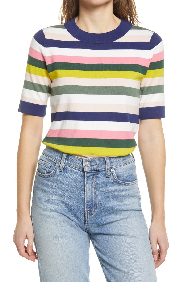 BODEN Abingdon Stripe Short Sleeve Cotton Blend Sweater, Main, color, MULTI STRIPE