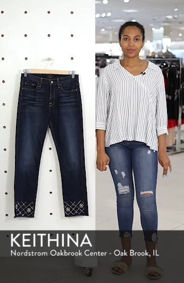 by 7 For All Mankind Embellished Ankle Straight Leg Jeans, sales video thumbnail
