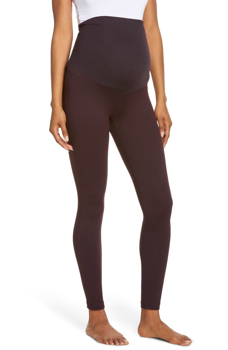 ZELLA Mamasana Live In Maternity Ankle Leggings, Main, color, PURPLE NEBULA