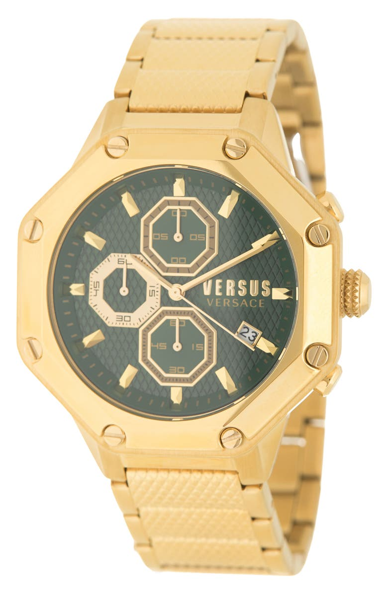 VERSACE Men's Stainless Steel Green Dial Bracelet Watch, 45mm, Main, color, GOLD