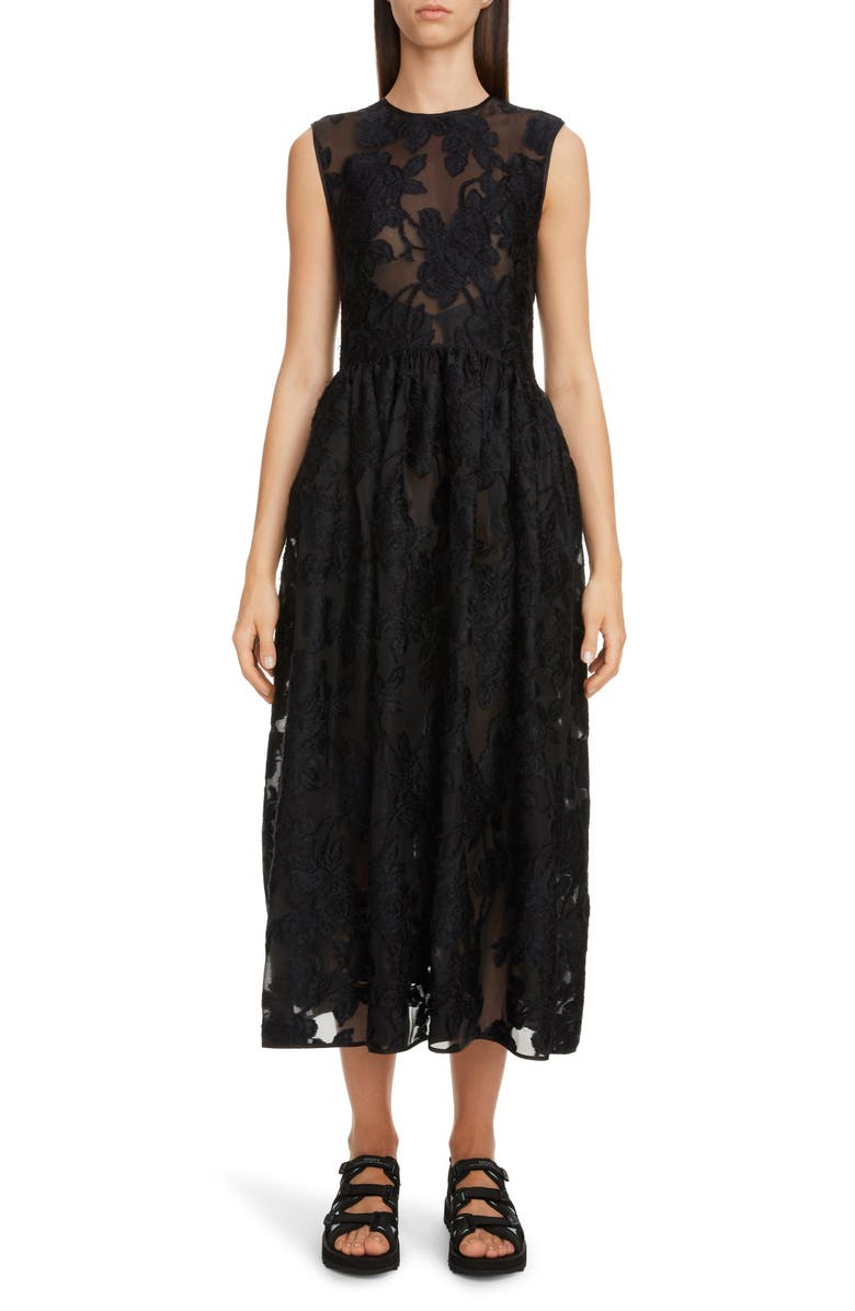CECILIE BAHNSEN Emma Floral Jacquard Midi Dress, Main, color, 001