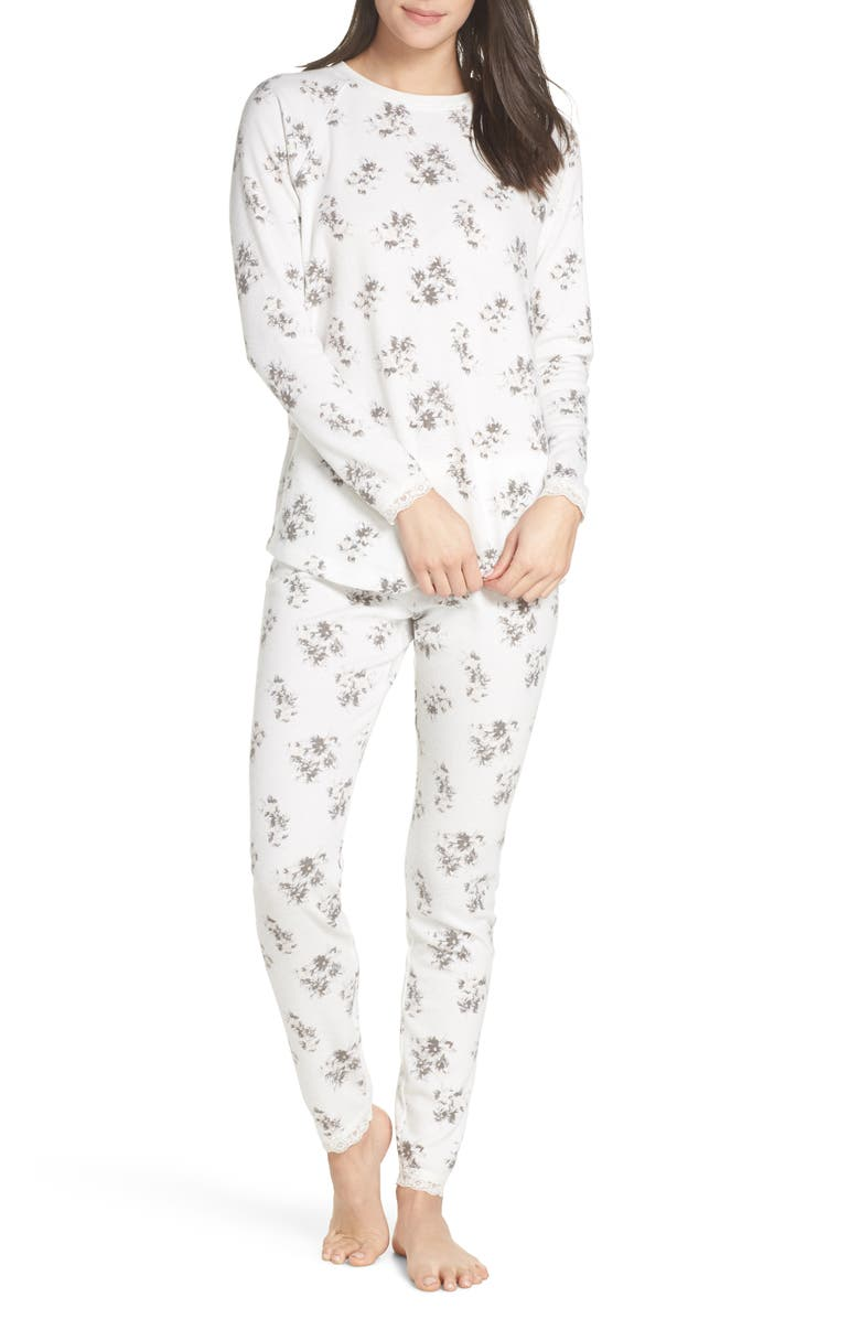 SOMETHING NAVY Thermal PJs, Main, color, IVORY FLORAL