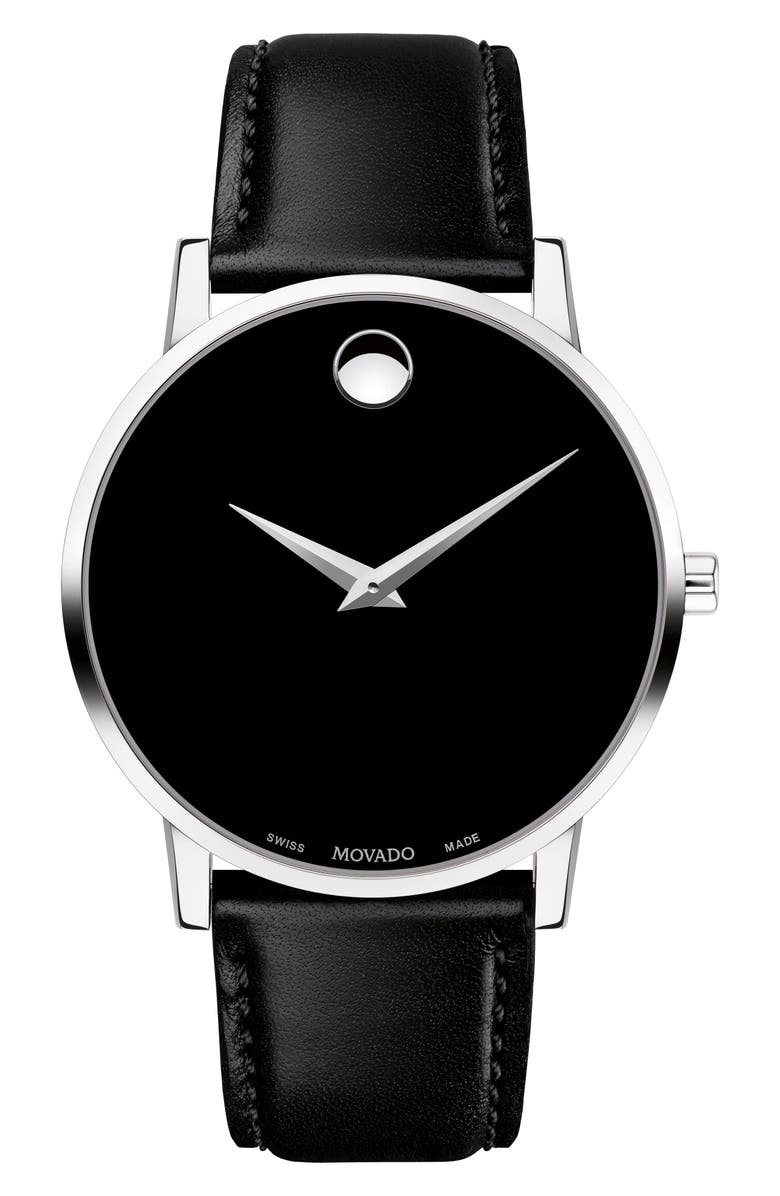 MOVADO Leather Strap Watch, 40mm, Main, color, 001