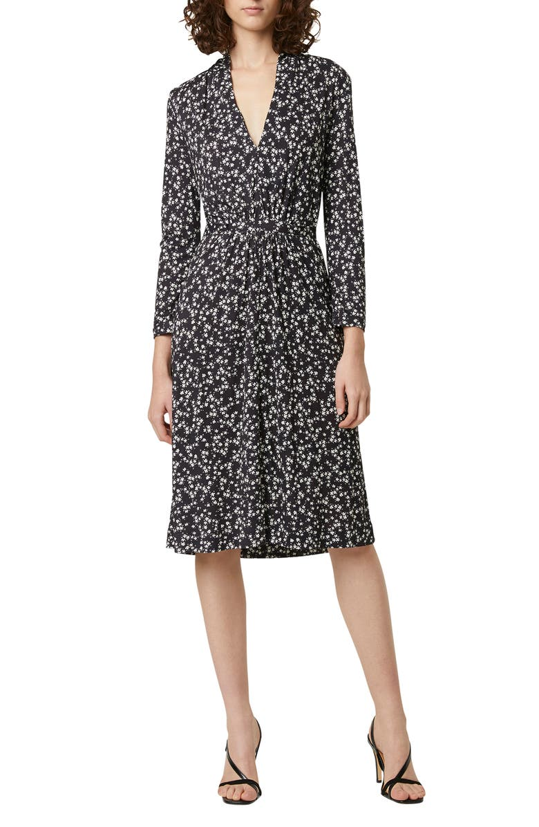 FRENCH CONNECTION Angelina Meadow Long Sleeve Dress, Main, color, BLACK/WHITE