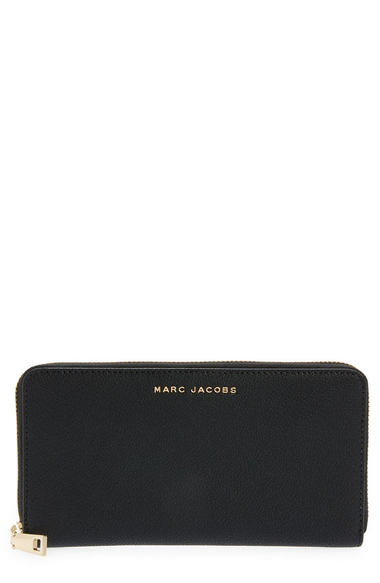 THE MARC JACOBS The Simple Vertical Zippy Leather Wallet, Main, color, BLACK