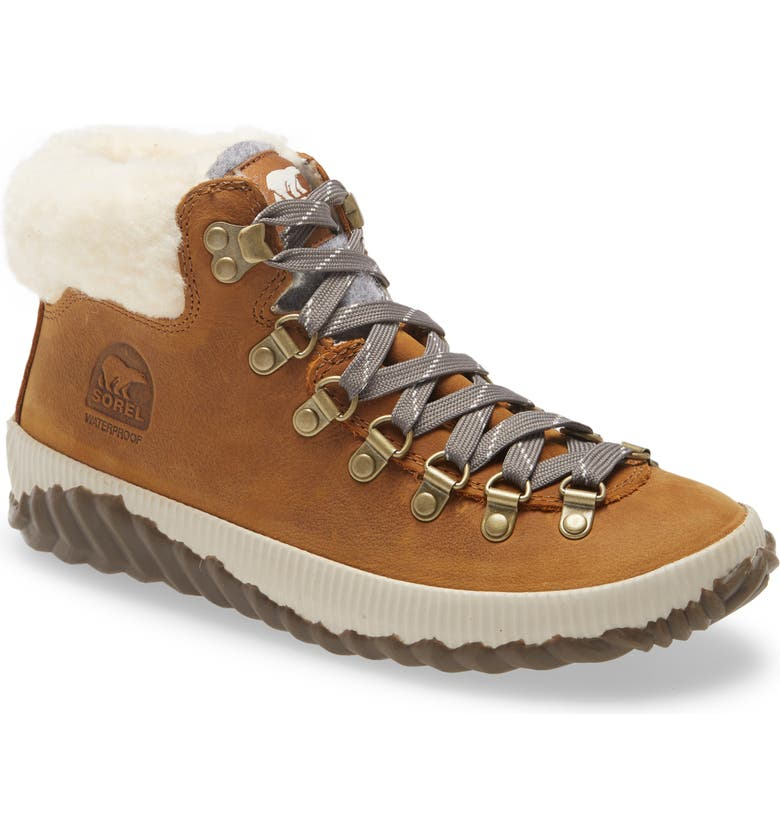 SOREL Out 'N About<sup>™</sup> Conquest Waterproof Bootie with Faux Fur Trim, Main, color, ELK