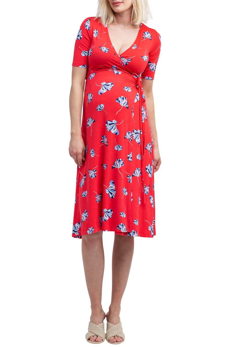 NOM MATERNITY Maya Maternity/Nursing Wrap Dress, Main, color, POPPY