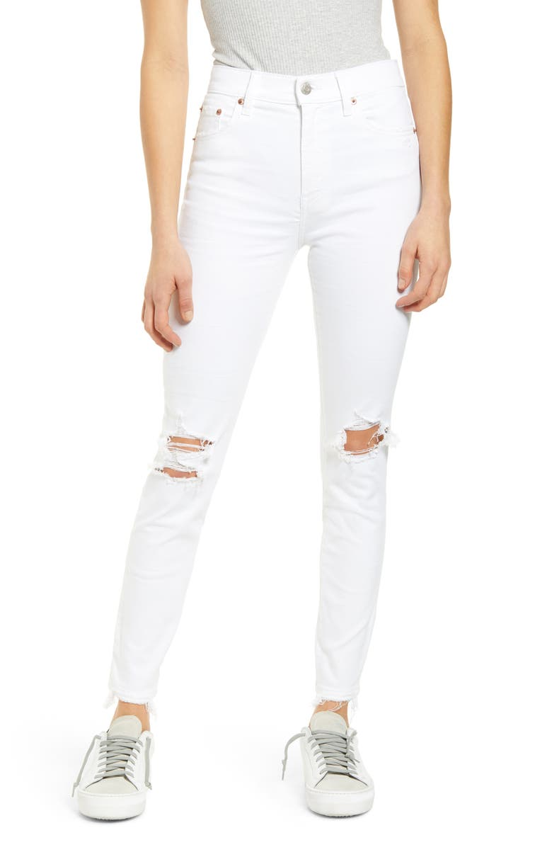 DAZE Call You Back Ripped High Waist Ankle Skinny Jeans, Main, color, 100