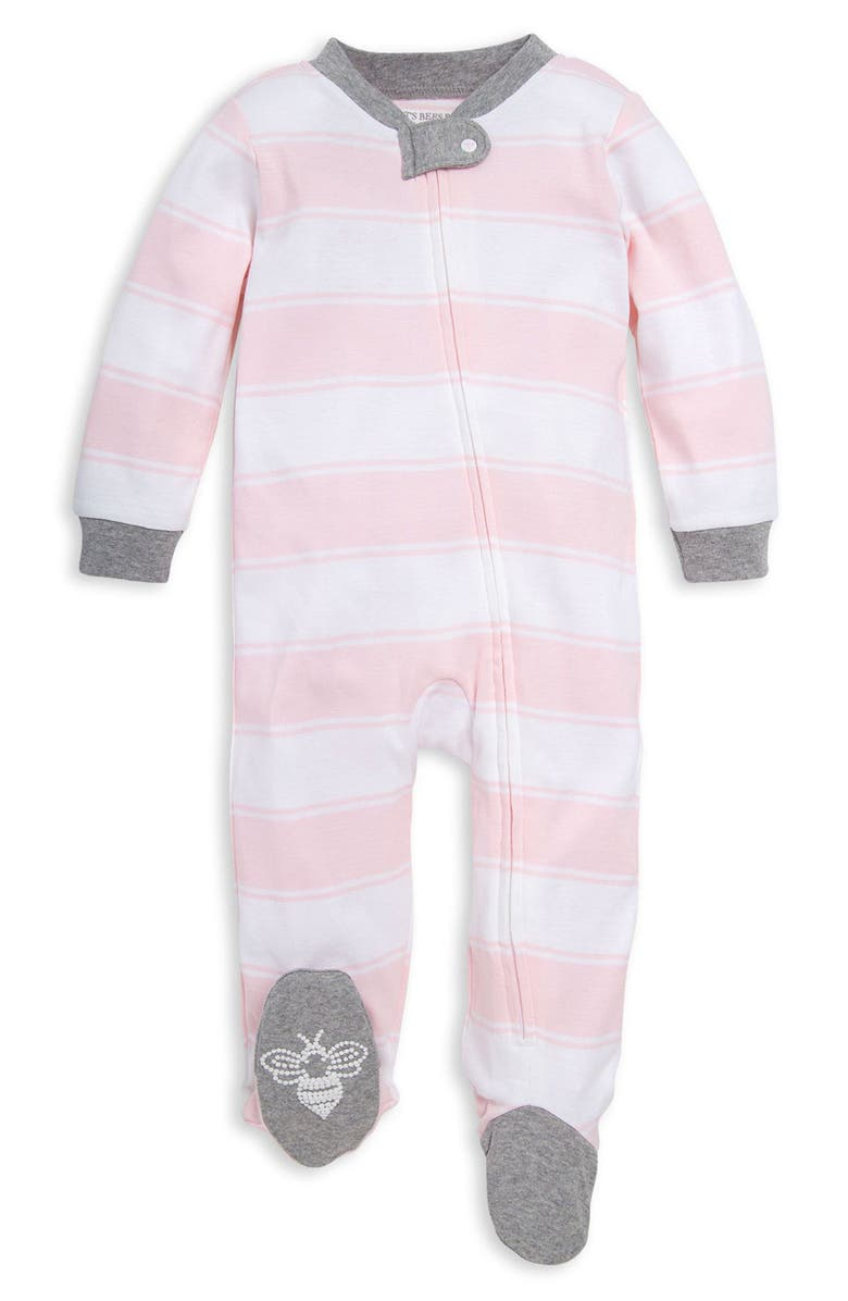 BURT'S BEES BABY Rugby Stripe Footie, Main, color, BLOSSOM