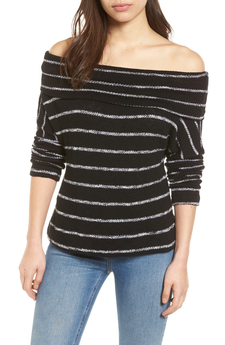 CASLON<SUP>®</SUP> Convertible Neck Knit Pullover, Main, color, 001