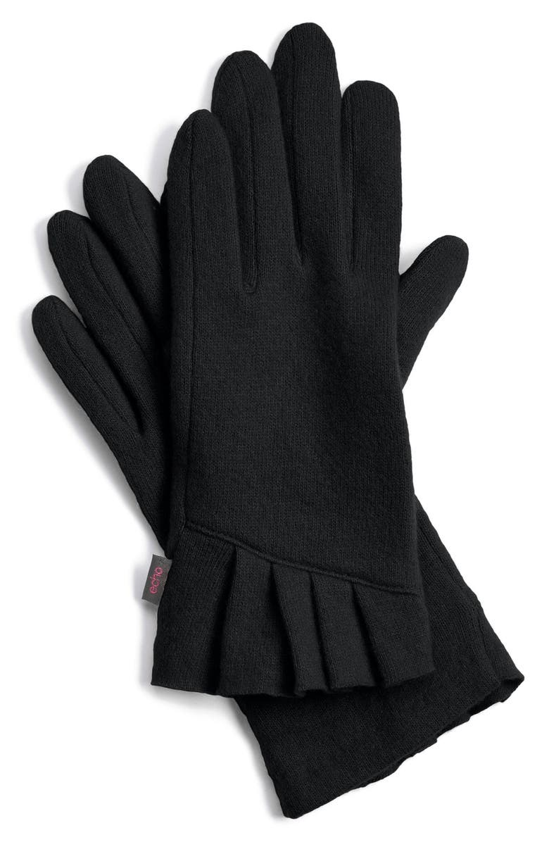 ECHO 'Touch - Pleated Cuff' Wool Blend Gloves, Main, color, Black