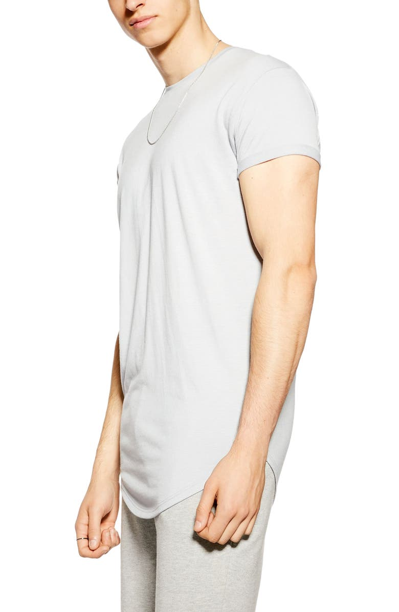 TOPMAN Scotty Longline T-Shirt, Main, color, Grey