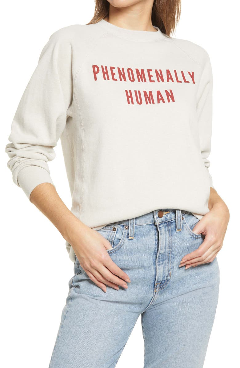 PHENOMENAL Phenomenally Human Cotton Blend Sweatshirt, Main, color, ECRU